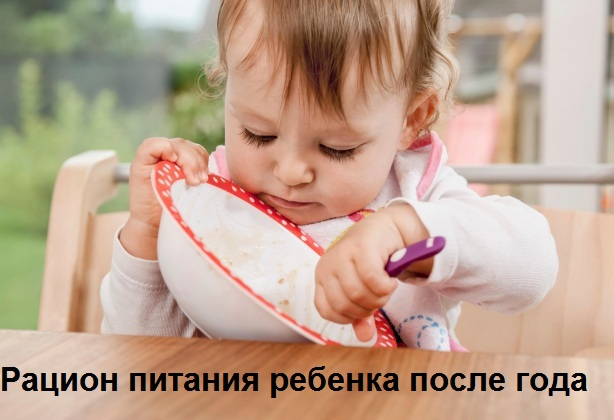 рацион питания ребенка после года